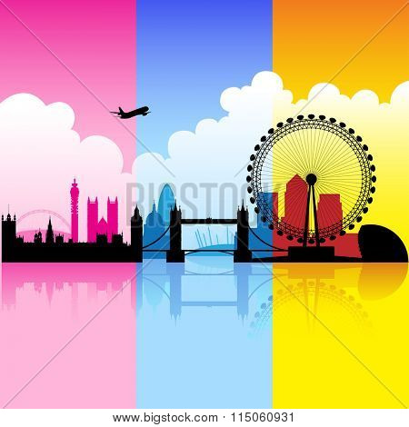Vector Illustration of colorful London landmarks with reflections on river thames