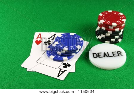 Poker - A Pair Of Aces With Poker Chips 4