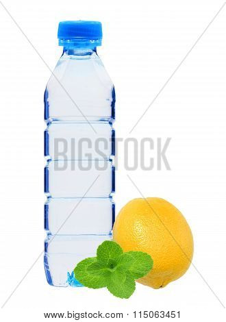 Blue Bottle With Water, Mint Herb And Fresh Yellow Lemon Isolated On White