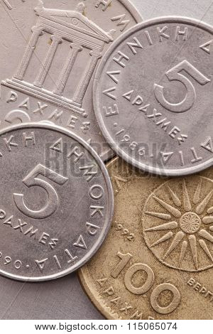 Different Coins Of Old Greek Money