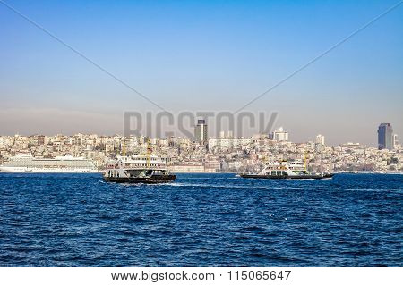 Istanbul ferry. Istanbul view.