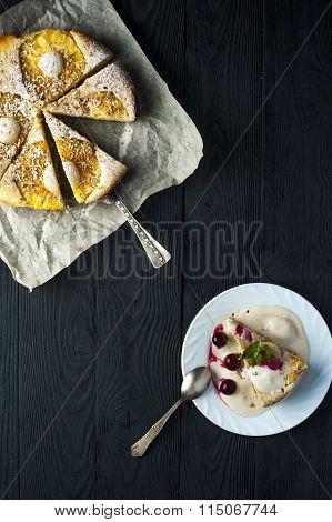 Piece Of Pineapple Pie, Ice Cream And Cherries