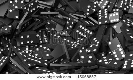 Black domino tiles pile abstract background