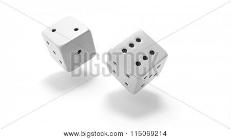 Two white dices rolling two and six, isolated on white background