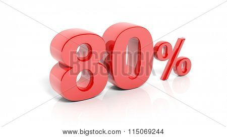 Red 80 percent number, isolated on white background.