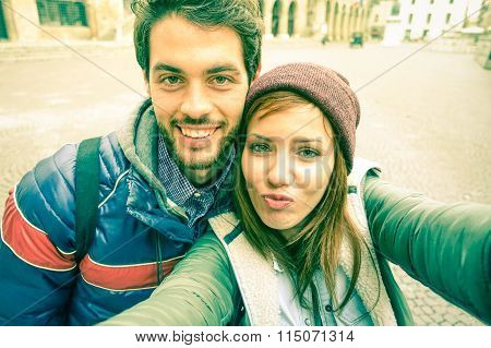 Young Couple Taking Selfie By Mobile Phone In Old City - Students Teenager Having Fun