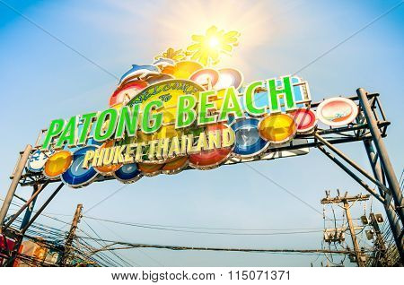 Patong Beach Welcom Sign - Phuket Thailand