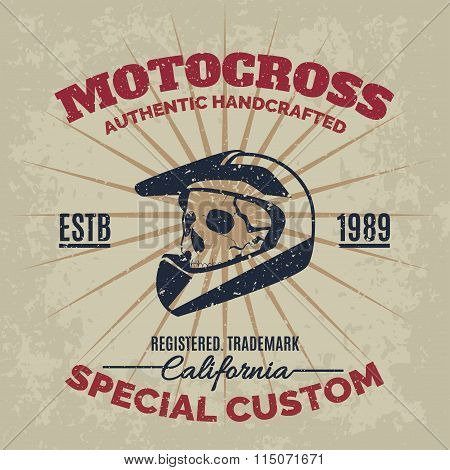 Vintage Motocross Helmet With Skull For Printing With Grunge Texture. Vector Old School Race Poster.