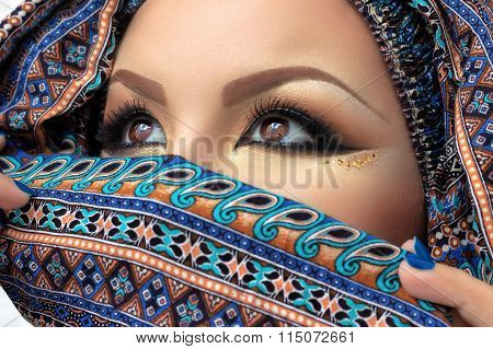 Hijab, eyes of beautiful woman, arabian makeup, intense look