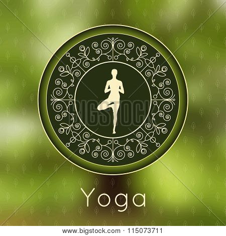 Yoga Poster With Floral Ornament And Yogi Silhouette.