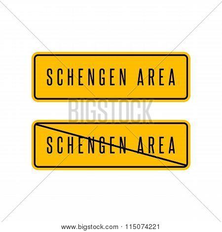 Schengen Zone Yellow Sign, European Customs Area Information