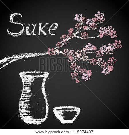 Illustration Of Chalk Painted Twigs Sakura And Tableware For Sake.
