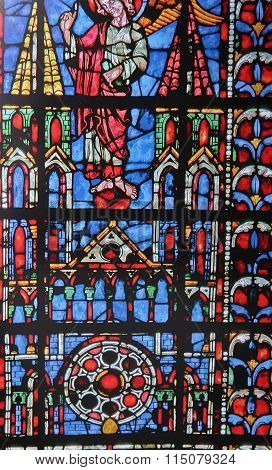 Stained Glass In Cathedral Of Chartres,  France