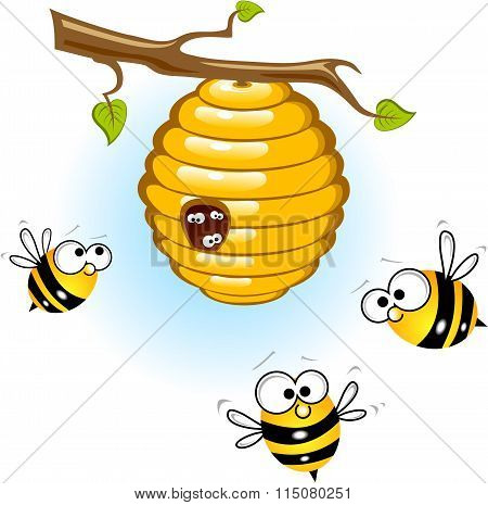 Bees and a beehive
