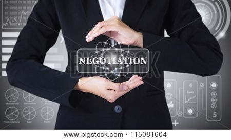 Business women holding posts in NEGOTIATION.