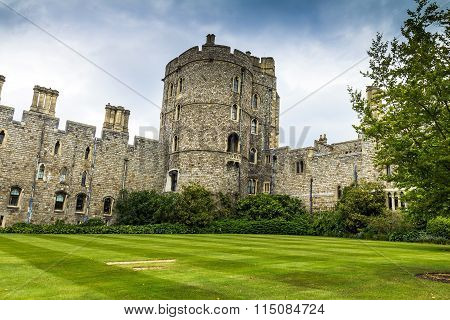Upper Ward In Medieval Windsor Castle.  Uk