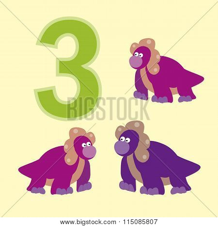 Number Three. Three Dinosaur (protoceratops ).