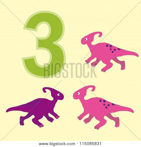 Number Three. Three Dinosaur (sauroloph).