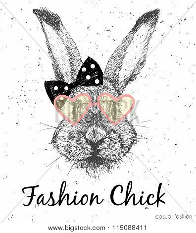 Cute Rabbit Vector Print