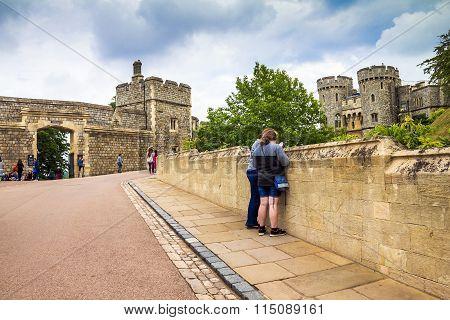 Unidentified Visitors Inside Medieval Windsor Castle.