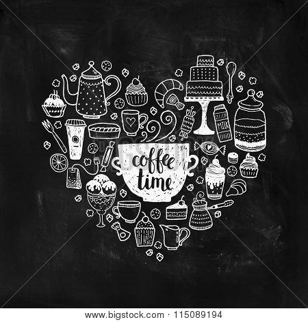 Hand drawn coffee time illustration