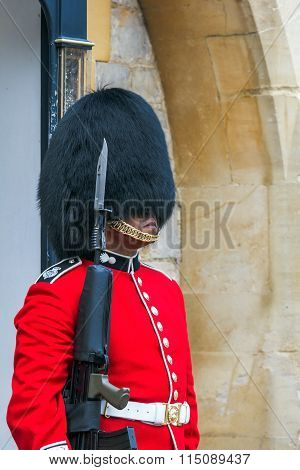Unidentified Queen's Guard  stands  on duty at Windsor Castle