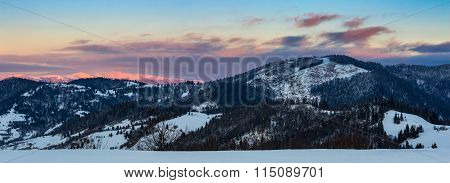 Mountainous Area  On Winter Sunrise