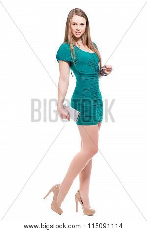 Smiling Blond Woman With Smartphone