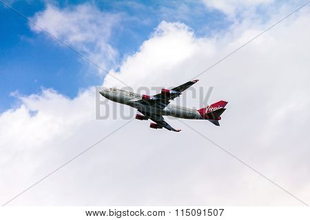 Boeing 747 Virgin Atlantic Gaining Altitude After Takeoff From  Heathrow Airport