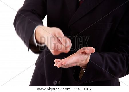 Detail Of A Businessman Making The Gesture Of A Payment, Isolated On White Studio Shot