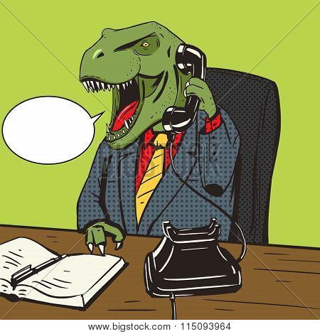 Dinosaur businessman talks phone pop art vector