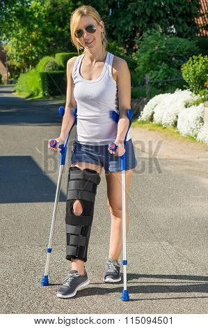 Woman Wearing An Orthopaedic Leg Brace