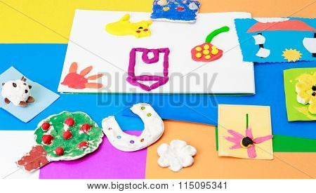 baby crafts from play dough and colourful paper