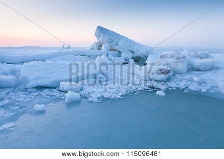 Ice Hummocks In The Sea