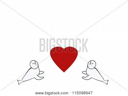 Baby Seals And Heart Drawing