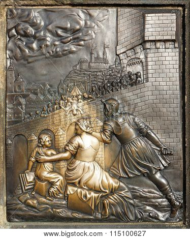 Bronze Bas-relief Sculpture Depicting The Execution Of St. John Of Nepomuk