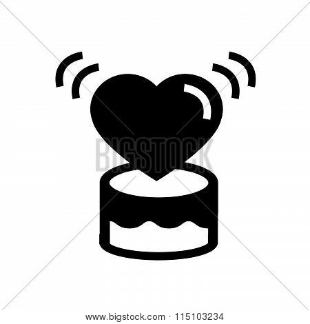 valentine Heart on gift box icon vector design black color support eps10.