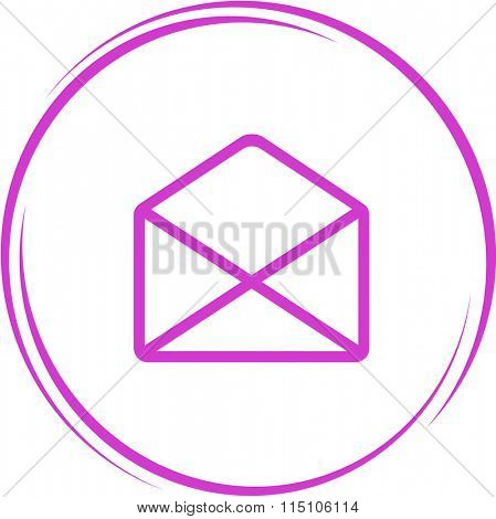 open mail. Internet button. Raster icon.