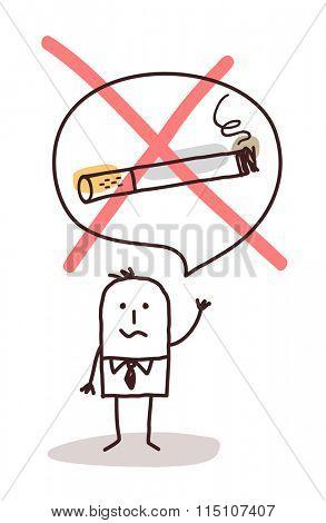 cartoon man who wants to stop smoking