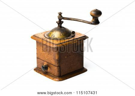 Antique Hand-mill For A Grinding  Spices And Coffee Isolated On Whte Background