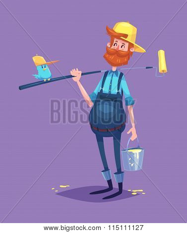 Funny  illustration of painter cartoon character. Isolated vector illustration.