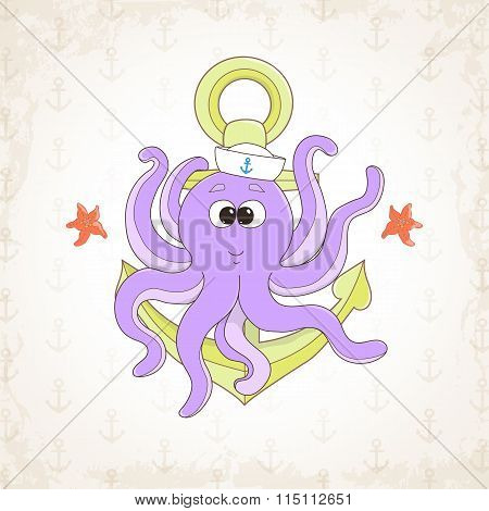 Childish vector octopus with textural background