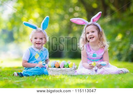 Kids On Easter Egg Hunt