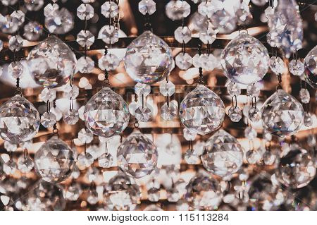 Chandelier Crystals Close Up Detail