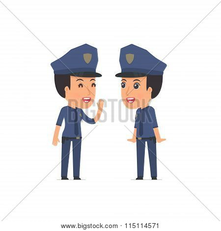Cunning Character Constabulary Gossiping And Telling Secret To His Friend