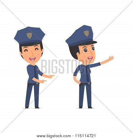 Happy And Cheerful Character Constabulary Making Presentation Using His Hand
