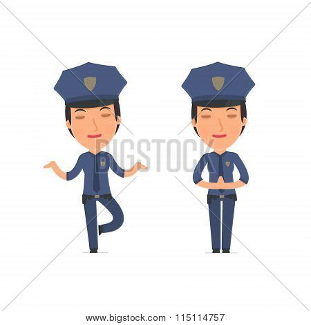 Calm And Blanced Character Constabulary Does Yoga And Meditates