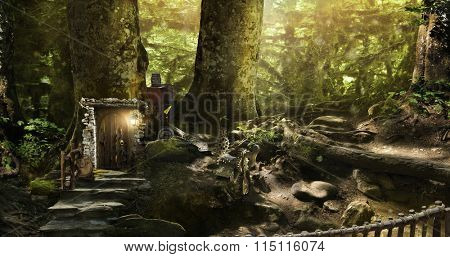 fabulous, magical, mysterious forest where elves, gnomes and other fabular beasts live