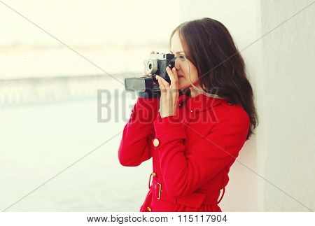 Beautiful Young Woman With Retro Vintage Camera In Winter Day, Profile View