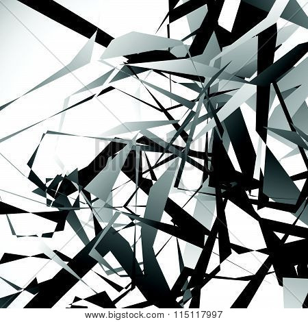 Edgy, Angular Overlapping Shapes. Abstract Geometric Image. Vector.